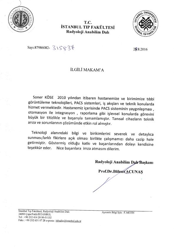 İ.Ü. İstanbul Tıp Fakültesi Radyoloji Anabilim Dalı - Referans Mektubu
